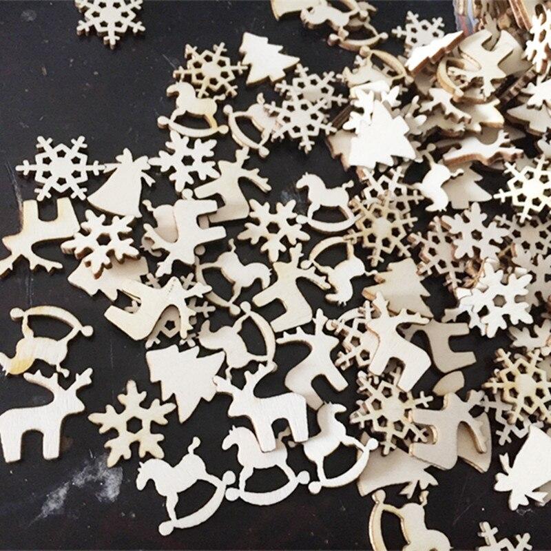 50PCS Merry Christmas decoration wooden reindeer snowflake tree embellishment ornament scrapbook diy craft new year natal