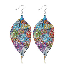 2019 Fashion Jewelry leaf Dangle earrings blue color Cool Big for women Accessorie