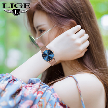 LIGE Women Watches Simple Mesh Belt Watch Ladies Casual Fashion Ladies Clock Waterproof Watches Bayan Kol Saati Zegarek Damski top luxury rhinestone watch women watches fashion ladies watch women s watches clock zegarek damski bayan kol saati relogio