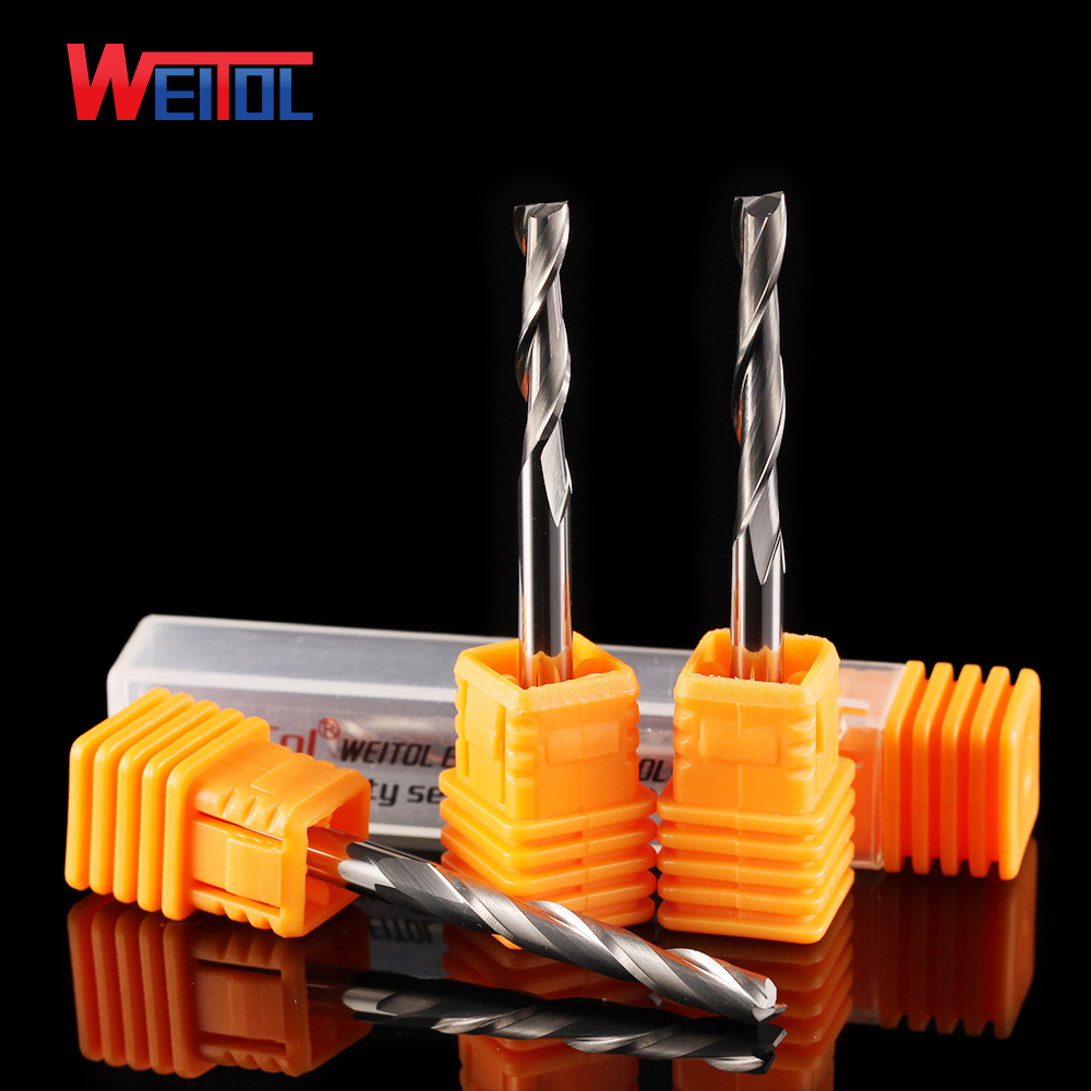 Weitol 5A 4 mm double edge milling cutter 4mm  wood and acrylic cutting spiral cutter head computer CNC engraving machine tool cutting edge elementary workbook
