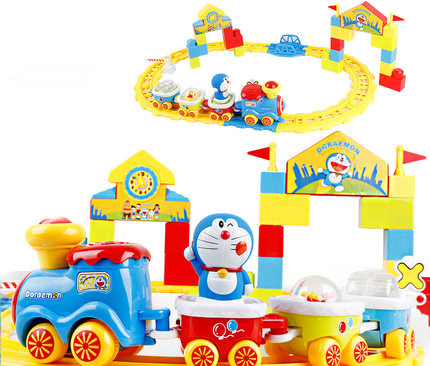 Beiens Doraemon Cartoon Electric Trains Set Train Tracks Puzzle With Light Music Children toys Large Overpass Electric RC Train