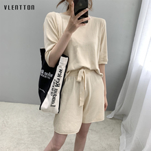 цена на 2019 New 2 Piece Set Women Short Sleeve Ice silk Knit Tops+Shorts Tracksuit Women spring summer Casual Loose knitted Suit Female