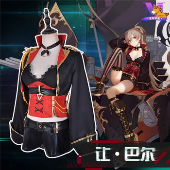 The Popular Game Azur Lane Jean Bart Tube Top+Coat+Pants Lovely Style Full Sets A
