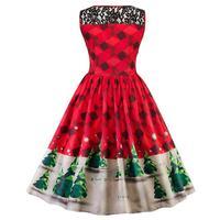 Weihnachten Spitzenkleid Frauen Baum Firefly Karierten Vintage Kleid 2017 Schnee Swing Print Retro Kleider Vestidos Mujer OT23