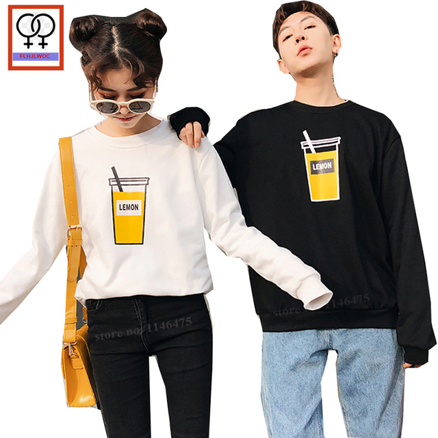 70a6bfb6b3ee Matching Couple Clothes Lovers Tops For Him And Her Autumn Winter Hoodies  Sweatshirts Cute Black White Korean Couple Hoodies 745
