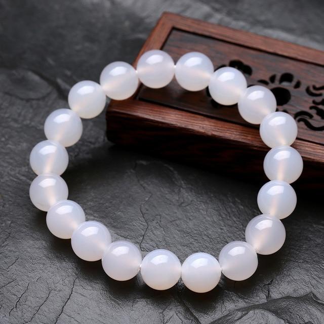 155bbcfd3c60 12mm moda cuarzo blanco lechoso cristal pulsera mujer hombres joyería rojo piedra  pulseras bijoux Homme Calcedonia