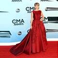 Nueva impresionante Red atractivo Backless del satén Taylor Celebrity Dresses at premios CMA noche Formal Vestido de fiesta Vestido de Festa