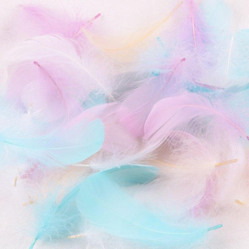 Натуральный Лебяжий Шлейфы из перьев смешать окрашенные Цвет гусиное перо Свадебная вечеринка Костюмы украшения DIY Craft 4-8 см перья 100 шт./лот
