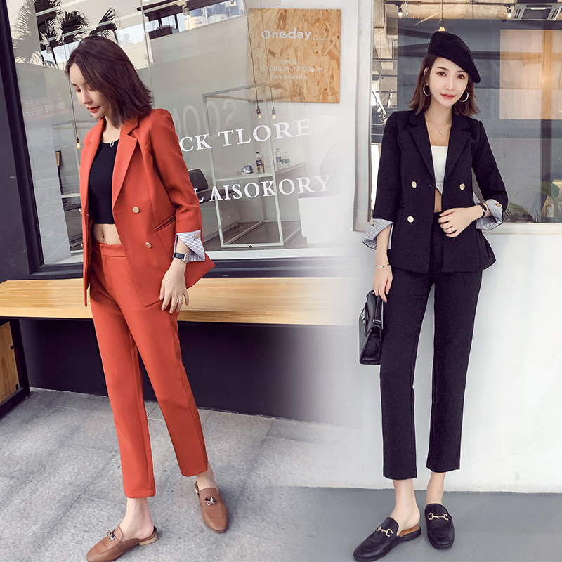 Women Pant Suits Formal Suit Female Spring And Autumn Temperament Slim Office Ladies OL Business Professional Two-piece Suit