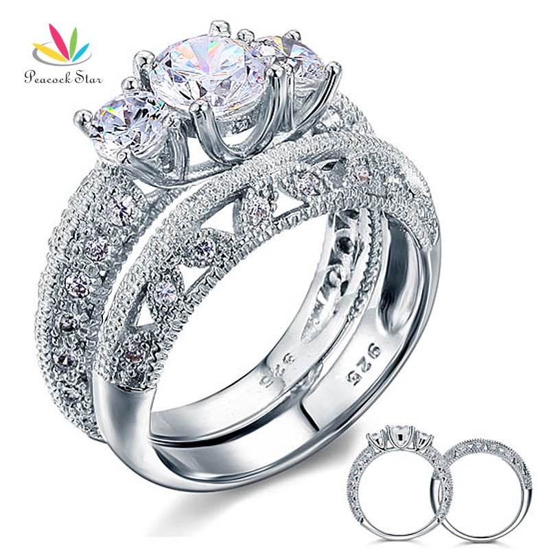 Pea Star Vintage Style Victorian Art Deco 2 Pcs Wedding Ring Set 1 Ct Solid Sterling 925 Silver Cfr8100 In Engagement Rings From Jewelry Accessories