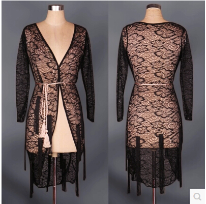 Latin Dance Costume Sexy Lace Long Sleeves Coat Tiger Latin Dance Vest For Women Latin Dance Exercise Top