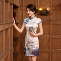 New Arrival Fashion Traditional Chinese Dress Women Cheongsam Qipao mini Mandarin Collar Size S M L XL XXL F2016040312