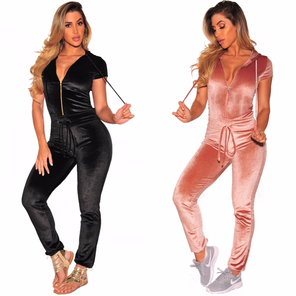 9b2a7a53b40 Misstyle Pleuche Jumpsuit Casual Women Pleuche Short Sleeves Hoodies One  Piece Tracksuit Velour Zipper Lace up Ladies Overalls-in Jumpsuits from  Women s ...