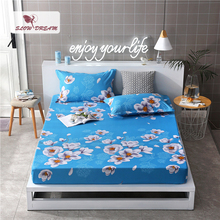 Slowdream 1PCS Flowers Bed Fitted Sheet Blue On Elastic Band Rubber Pillowcases Adult Double Single Size Corner