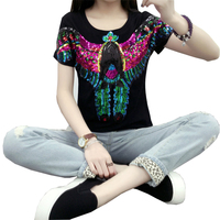 S 3XL European Punk Fashion Sequined T Shirt Cotton Animal Embrordery Bling T Shirts For Women