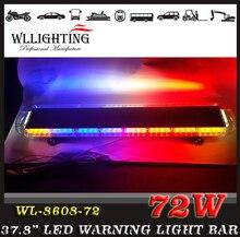 Livraison gratuite 38.5 «72 LED de Récupération D'urgence LightBar Dépanneuse Clignotant LightBar Beacon Strobe Lumière Bar bleu
