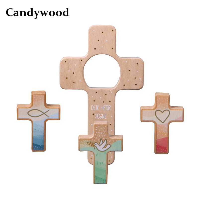 Candywood High Quality Beech Wooden Cross Christian Faith/Hope/Love Decoration Christmas Gifts For Children Kids Church Gifts