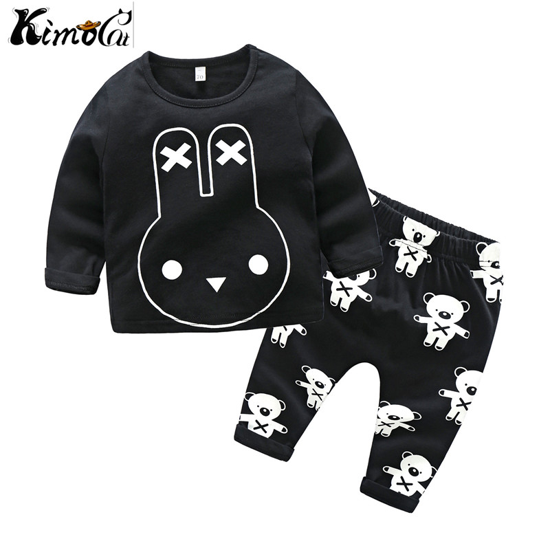 Kimocat Spring summer and autumn long-sleeved cotton baby cartoon rabbit suit baby girl and boy newborn Cotton suit, kimocat boy and girl high quality spring autumn children s cowboy suit version of the big boy cherry embroidery jeans two suits