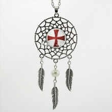 2017 Trendy Style Dreamcatcher Pendant Templar Knight Cross Necklace Knight Cross Jewelry Wings Shaped Sweater Chain DC-0045