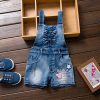 2017 Summer Girl Jumpsuit Cute Sweet Fashion Washed Kids Girls Jeans Denim Romper Jumpsuits Straps Short Jeans Cowboy for 2-7yrs