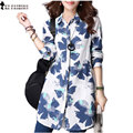 2017 Autumn Long Sleeve Womens Clothes Turn Down Collar Single Breasted Medium long Style Blue Floral Blouse Shirt T69929R