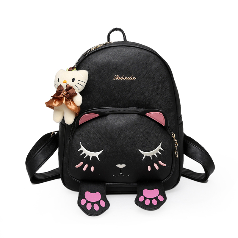 Cat Backpack Black Preppy Style School Backpacks Funny Pu Leather Fashion Women Shoulder Bag Travel Back Pack Sac A Dos 677 women backpack fashion pvc faux leather turtle backpack leather bag women traveling antitheft backpack black white free shipping