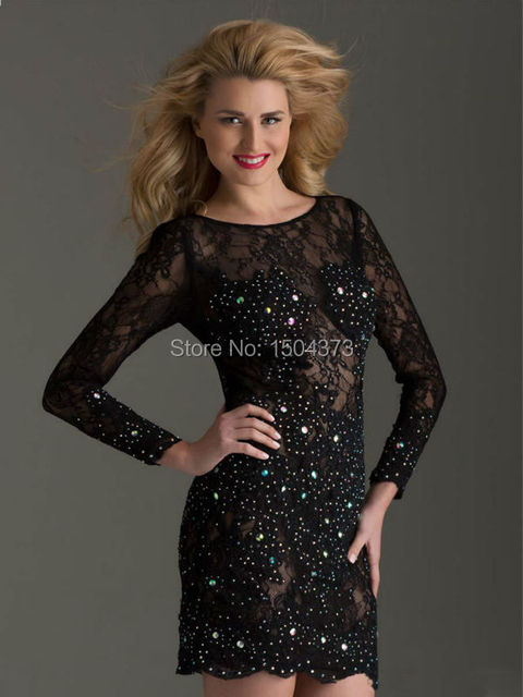 Black lace long sleeve dresses for juniors