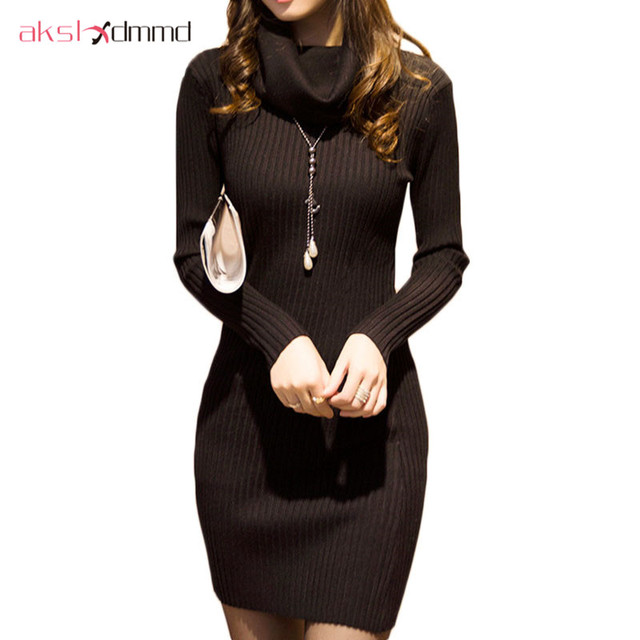 6c342e1bf399 AKSLXDMMD Turtleneck Collar Knitted Sweater Dress 2016 New Autumn and Winter  Women Thick Sweater Knit Dress Vestidos LH392. 2 orders. BLACK FRIDAY SALE  ...