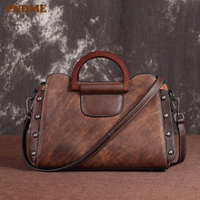 PNDME genuine leather ladies handbag retro simple handmade cowhide outdoor daily rivet womens shoulder messenger bags female
