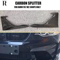 M2 Addon Style Carbon Fiber Front Bumper Side Splitter Apron for BMW F87 M2 Coupe 2017 2018 2019