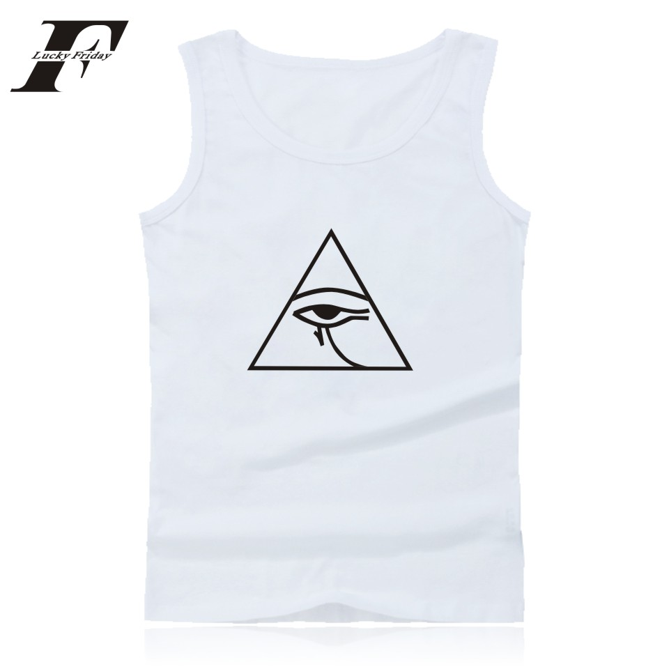 Simple Style Ggraphical With Eye Print   Tank     Top   Men's Summer Sleeveless High Qulity Fashion Bodybuilding Vest Men Clothing 4XL