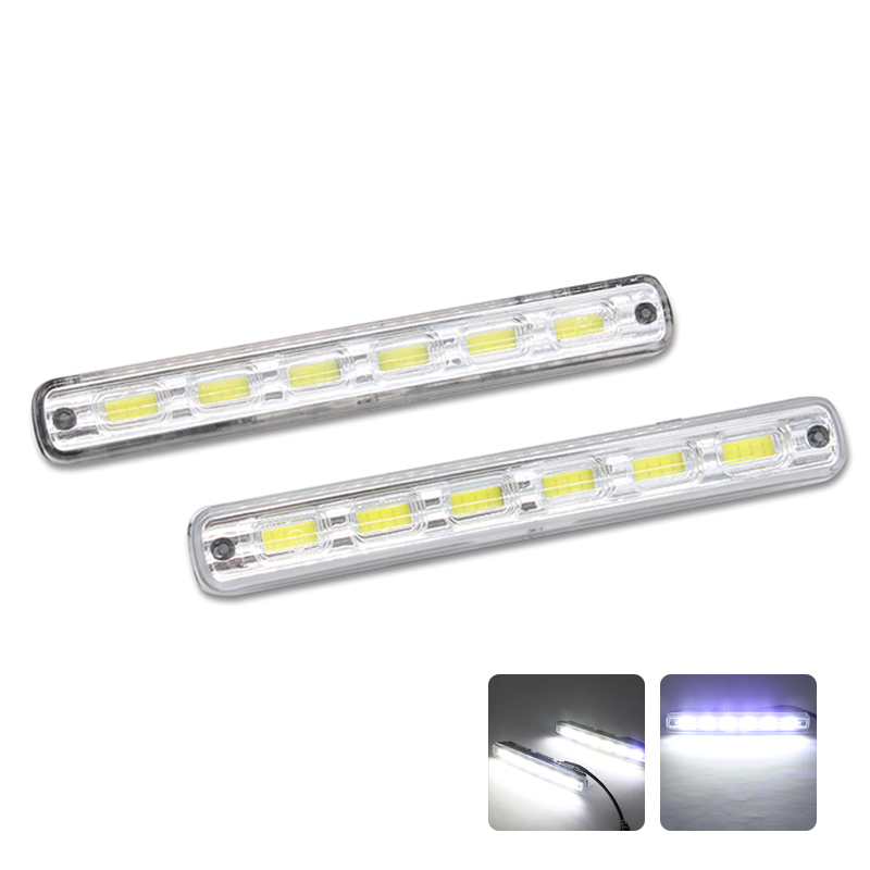 2Pcs/Pair SUNKIA Car LED DRL High Bright COB Fog Lamp Auto LED Daytime Running Light With On/Off Function 100% Waterproof itimo 2pcs led car headlight h3 headlamp auto fog lamp drl cob driving bulb car daytime running light car styling super bright