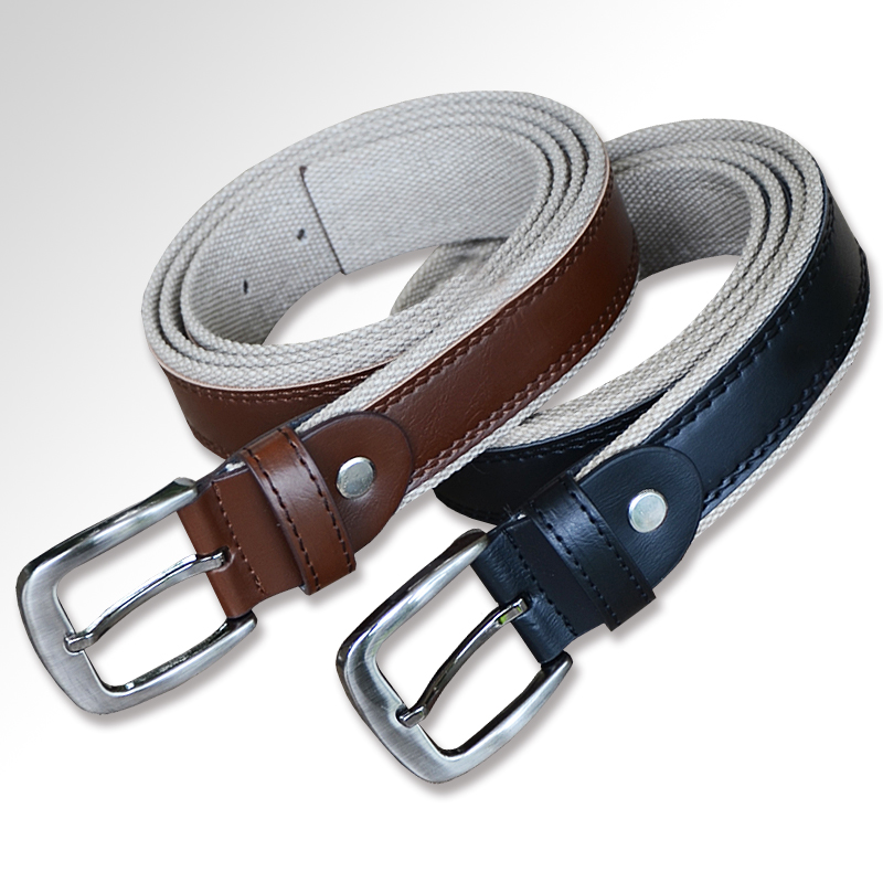 2018 Vomint Mens Fashion Belt Canvas Pu Casual Waist Belts Cowhide