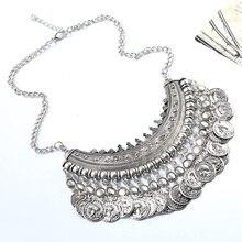 2016 Z Designer Women's Fashion Silver Coins Pendant Statement Bib Charm Choker Coin Choker Necklace statement Maxi Necklaces