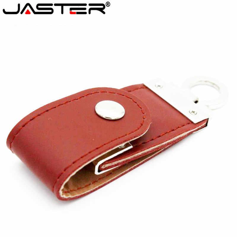 JASTER USB 2.0 da moda em couro usb flash drive chaveiro de pele pendriver16gb 32 gb memory stick 4 gb 64 comercial gb presente presentes
