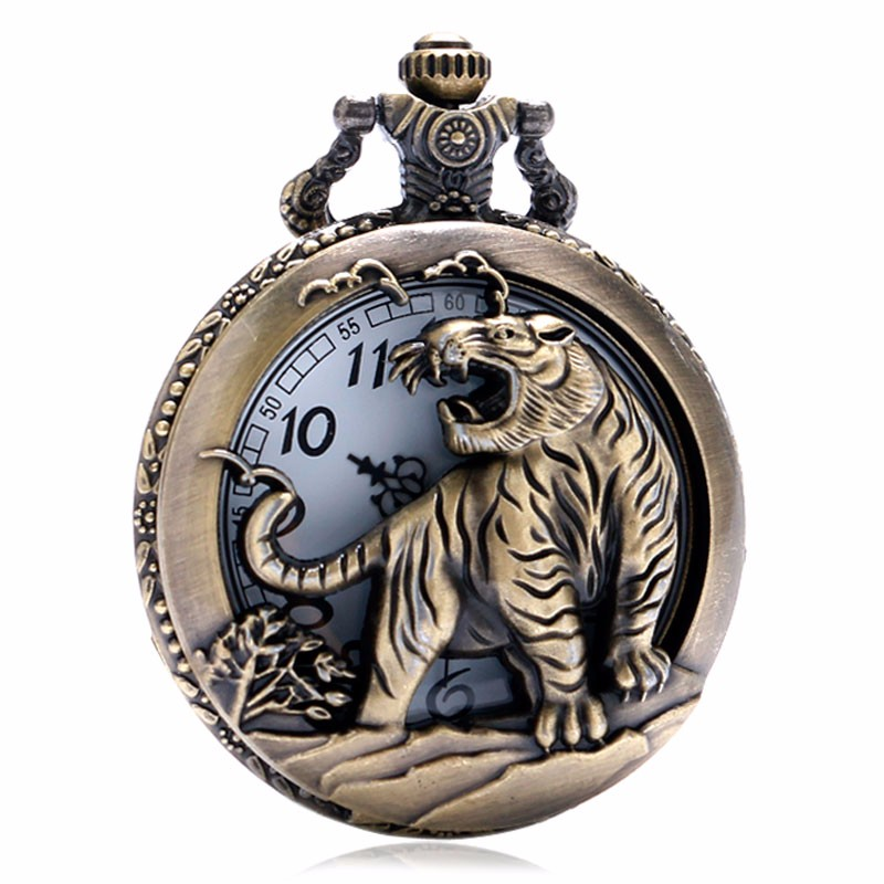 Vintage Hollow Tiger Design Pocket Watch Case Bronze 3D Quartz Clock With Necklace Chain Gift For Pendant Watches Men Women