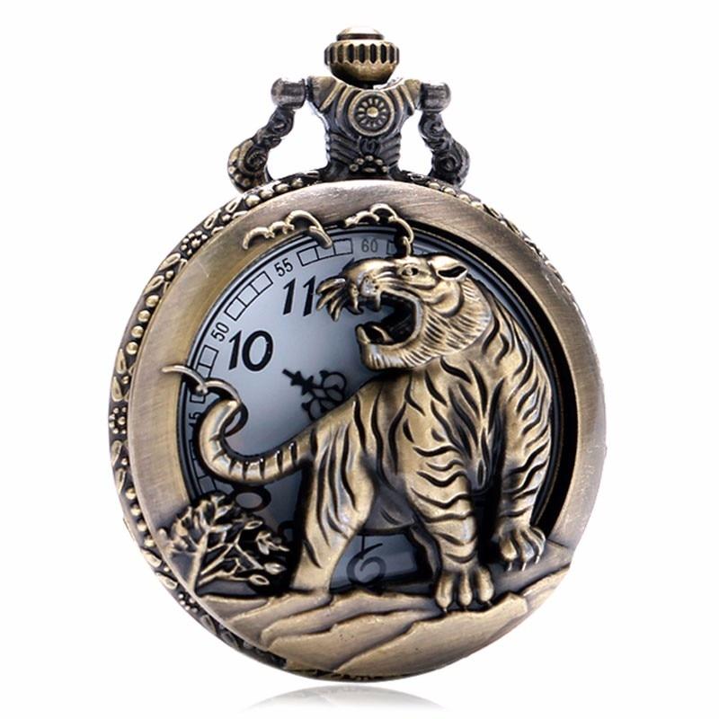 Vintage Hollow Tiger Design Pocket Watch Case Bronze 3D Quartz Clock With Necklace Chain Gift For Pendant Watches Men Women