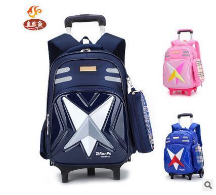 55c74063c4f3 Школьный рюкзак на колесах Тележка Школьные рюкзаки сумки колесный детский  школьный рюкзак прокатки для мальчика дети дорожные сумки купить на  AliExpress