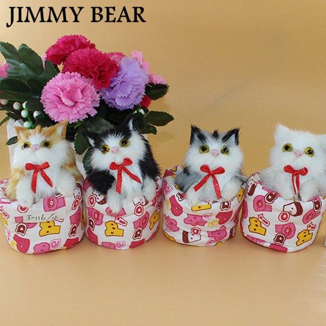 1 pcs cute simulation sounding cloth bucket cats plush toys kids doll girlfriend christmas birthday gifts