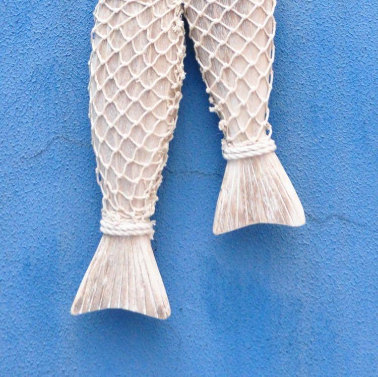 Mjete peshku prej druri mesdhetar të gdhendur në mur prej druri të - Dekor në shtëpi - Foto 3