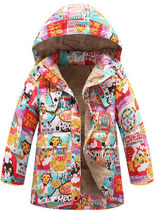Korean version of the new children's winter long down jacket plus thick cotton velvet jacket cartoon animals 2017 winter down jacket male korean version of self cultivation hooded thick in the long fashion trend of youth style downjacket