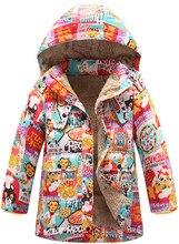 Корейская версия новых детских зима длинные вниз куртка плюс толстый хлопок бархатная куртка мультфильм животных