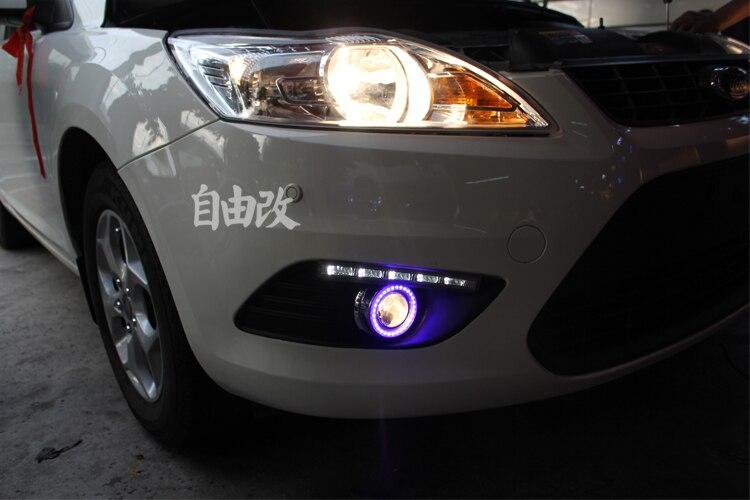 EOsuns COB Angelo occhio + LED daytime running light DRL + nebbia Lampada con Lente Del Proiettore per ford focus 2 berlina 2009-11, coupe 2008