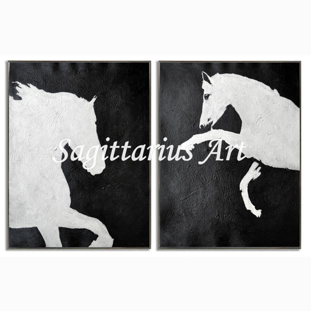 12807334520 Hand made Contemporary Abstract Modern Oil Paintings Canvas Black And White  Horse Wall Art Home Decoration Fine Art