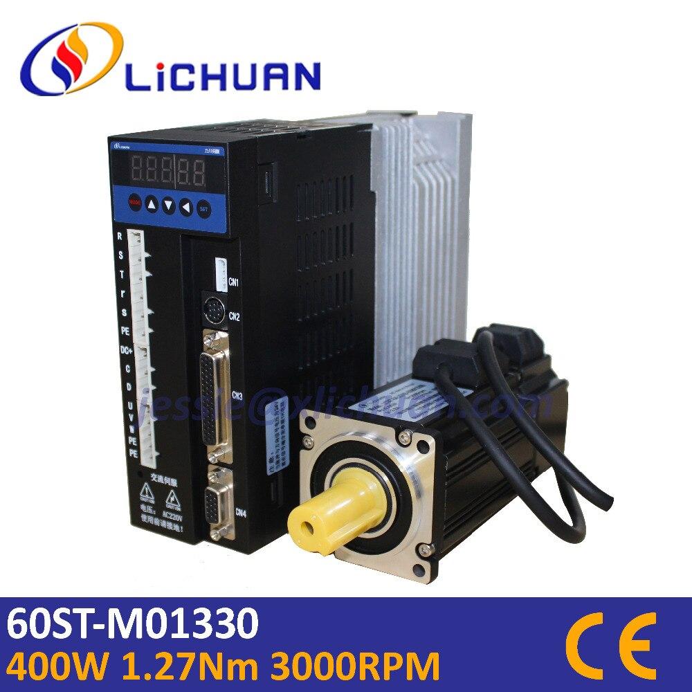 Hot sell Lichuan 400w servo motor 1 27N m 3000rpm 60ST AC servo motor 60ST M01330
