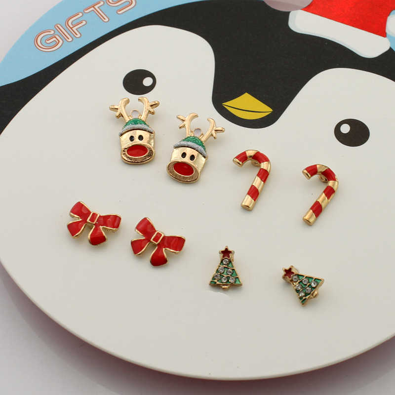 4pc set Christmas gifts bowknot Christmas tree red bow nails deer head crutch earrings