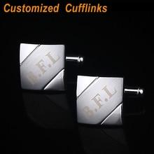 2013 Fashion Personalized laser engraved modern square Men cufflinks