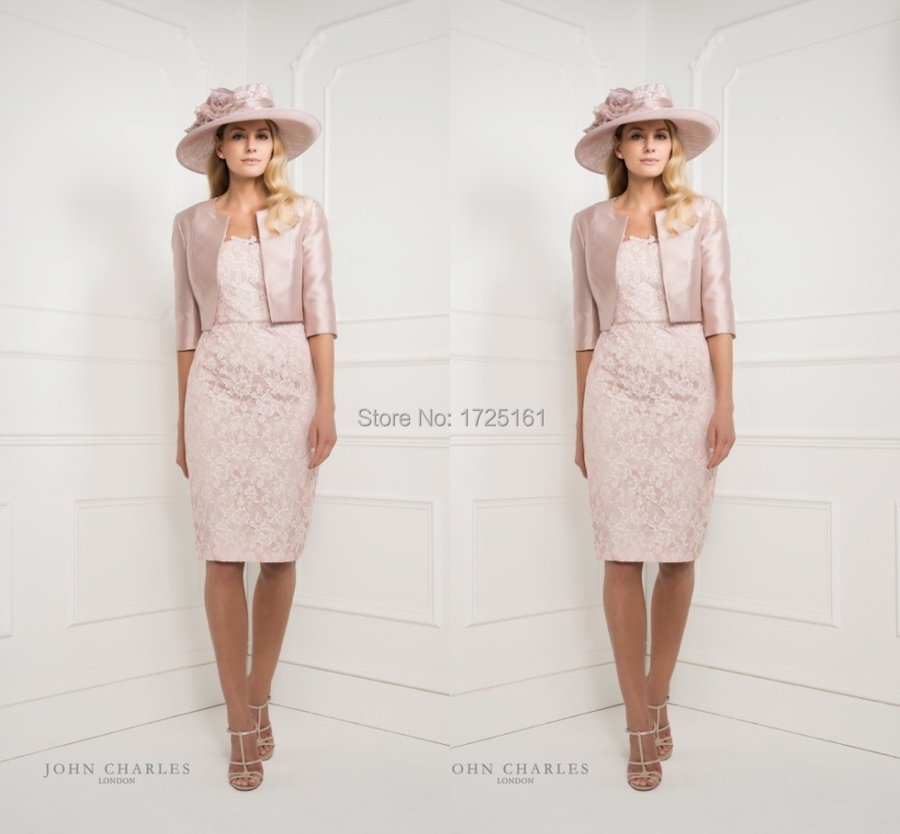 Pink Lace Satin Knee Length Mother Of Bride Dress Evening