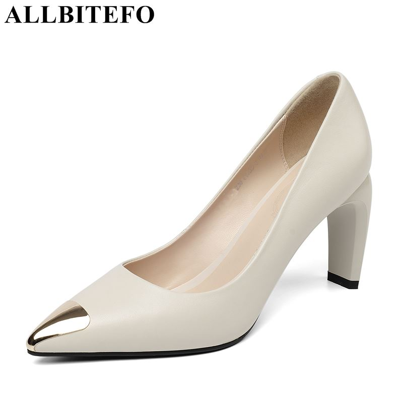 ALLBITEFO fashion sexy metal toe genuine leather high heels women shoes spring women high heel shoes