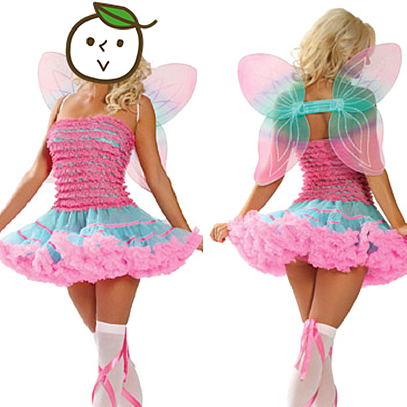 Hot Sell Fairy Costumes Colorful Wing Butterfly Costumes, Sexy Animal Cosplay, Fancy Women Halloween Insect Dress Tutu